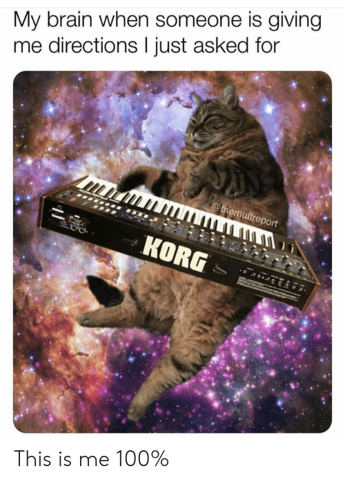 Brain, Korg, and For: My brain when someone is giving  me directions I just asked for  @themuffreport  KORG This is me 100%