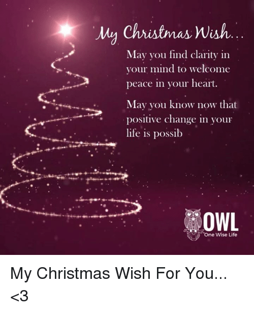My One Christmas Wish.My Christmas Wish May You Find Clarity In Your Mind To