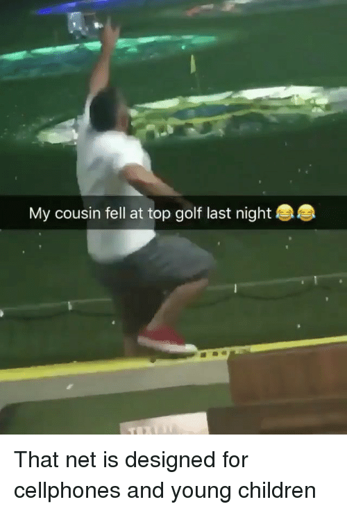 Children, Memes, and Golf: My cousin fell at top golf last night That net is designed for cellphones and young children