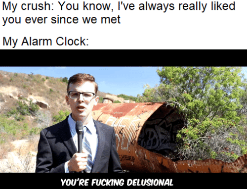 Clock, Crush, and Alarm: My crush: You know, I've always really liked  you ever since we met  My Alarm Clock:  FEP  YOU'RE FUCKING DELUSIONAL