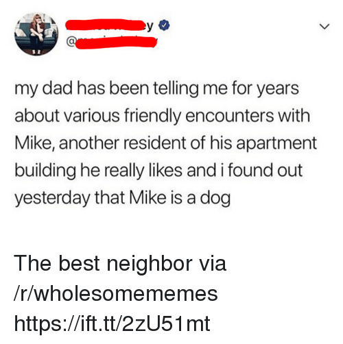 Dad, Best, and Been: my dad has been telling me for years  about various friendly encounters with  Mike, another resident of his apartment  building he really likes and i found out  yesterday that Mike is a dog The best neighbor via /r/wholesomememes https://ift.tt/2zU51mt