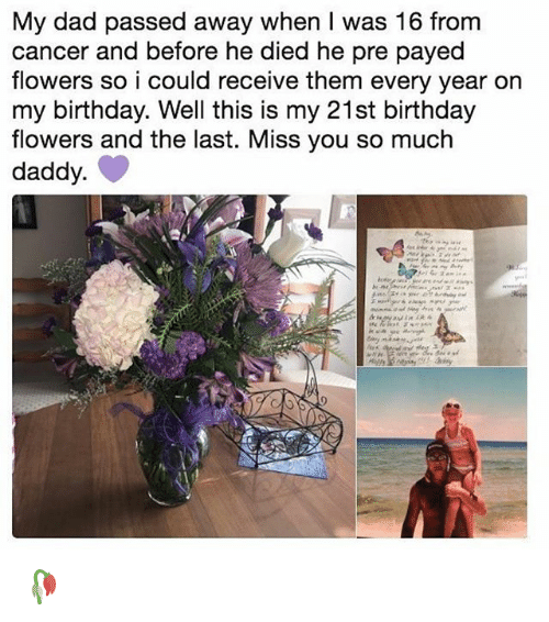 Birthday, Dad, and Memes: My dad passed away when I was 16 from  cancer and before he died he pre payed  flowers so i could receive them every year on  my birthday. Well this is my 21st birthday  flowers and the last. Miss you so much  daddy 🥀