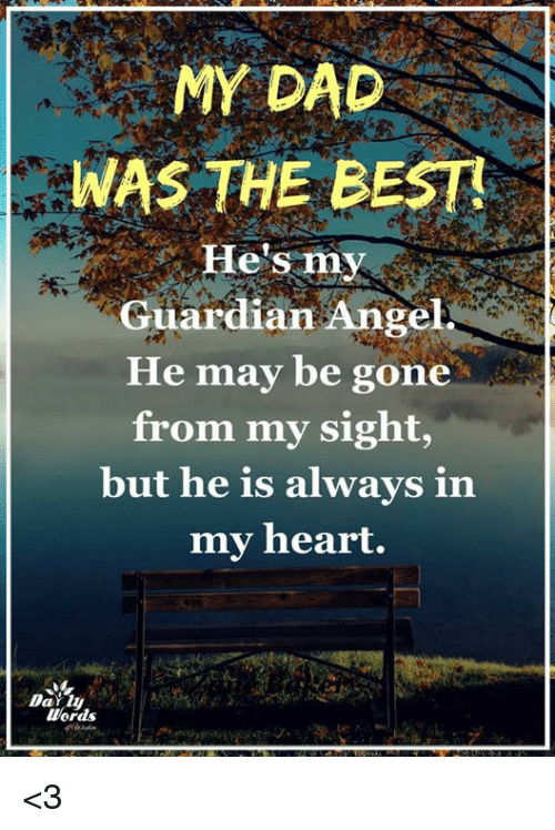 Dad, Memes, and Angel: MY DAD  WAS THE BEST  He's my  Guardian Angel  He may be gone  from my sight,  but he is always in  my heart.  Words <3