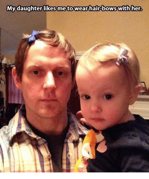 Memes, Hair, and 🤖: My daughter likes metootwear hair bows with her.