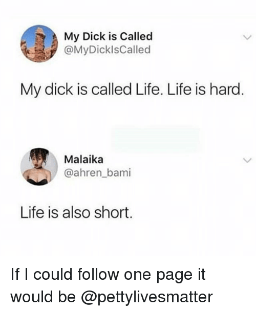Life, Dick, and Dank Memes: My Dick is Called  @MyDicklsCalled  My dick is called Life. Life is hard  Malaika  @ahren_bami  Life is also short If I could follow one page it would be @pettylivesmatter