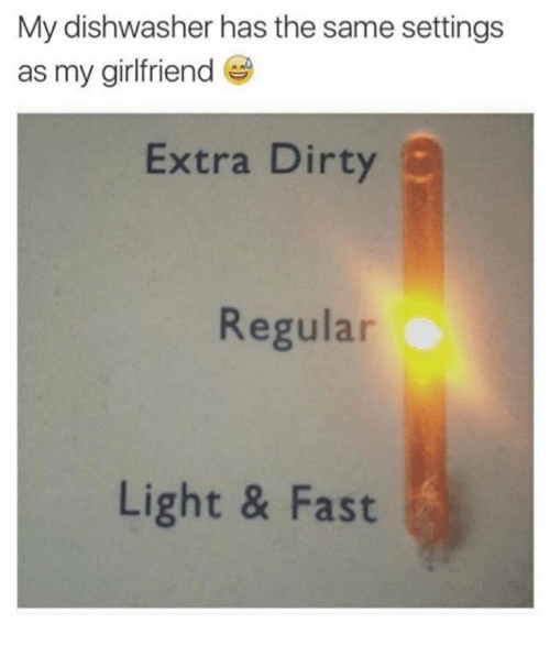 Dirty, Girlfriend, and Light: My dishwasher has the same settings  as my girlfriend  Extra Dirty  Regular  Light & Fast