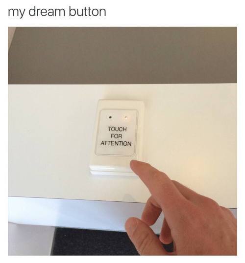 Dream, Touch, and For: my dream button  TOUCH  FOR  ATTENTION