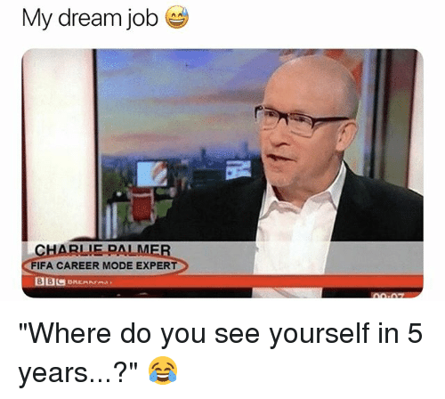 "Charlie, Fifa, and Soccer: My dream job  CHARLIE PALME  FIFA CAREER MODE EXPERT ""Where do you see yourself in 5 years...?"" 😂"