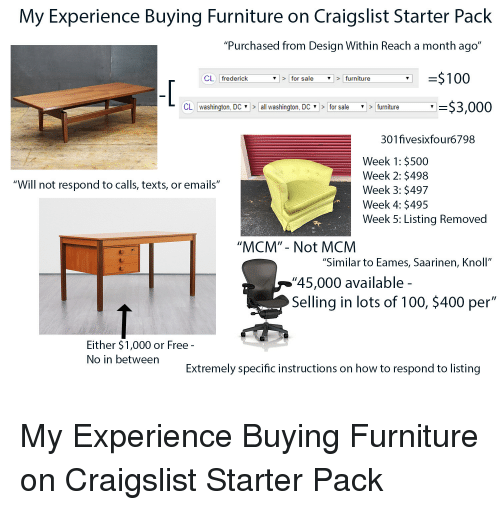 My Experience Buying Furniture On Craigslist Starter Pack Purchased