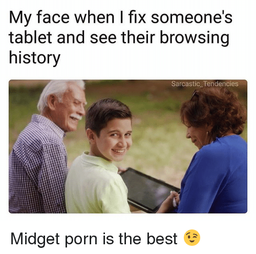 Ironic, Tablet, and Best: My face when I fix someone's  tablet and see their browsing  history  Sarcastic Tendencies Midget porn is the best 😉