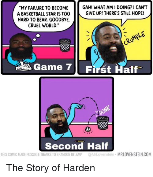 """Basketball, Nba, and Bear: """"MY FAILURE TO BECOME  A BASKETBALL STAR IS TOO  HARD TO BEAR. GOODBYE,  CRUEL WORLD.""""  GAH! WHAT AM I DOING? I CANT  GIVE UP! THERE'S STILL HOPE!  CRUMPLE  Game 7  First Half.  Second Half  THIS COMIC MADE POSSIBLE THANKS TO BRANDON DELAMP MrLovenstein MRLOVENSTEIN.COM"""