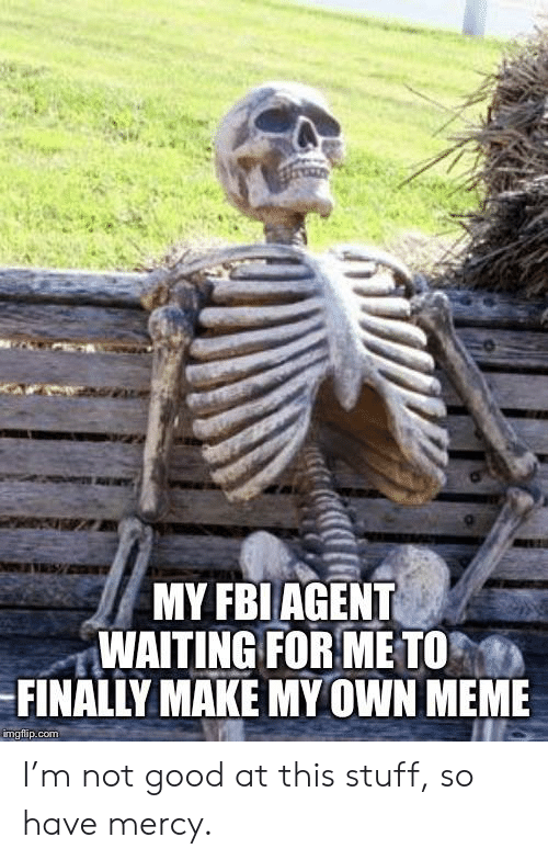 MY FBI AGENT WAITING FOR ME TO FINALLY MAKE MY OWN MEME