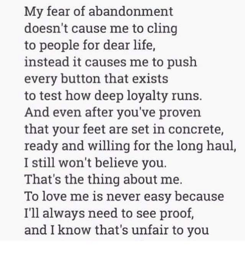 What causes fear of abandonment