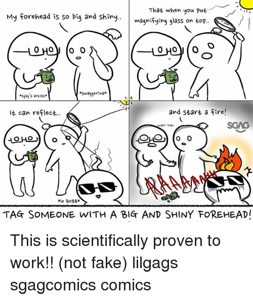 Fake, Fire, and Memes: My forehead is so big and shny.m  That when you put  magnifying glass on top  *sass artist.  Swaggerina  It can reflect.  and start a fire!  SGAG  THE-  예약 ( 。  AAAH  le Boss  TAG SoMEONE WITH A BIG AND SHINY FOREHEADI This is scientifically proven to work!! (not fake) lilgags sgagcomics comics