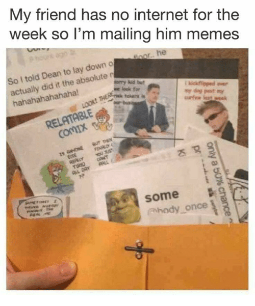 Internet, Memes, and Relatable: My friend has no internet for the  week so l'm mailing him memes  nor. he  So i told Dean to lay down o  actually did it the absolute n  hahahahahahaha  orry kid but  my dag pest my  RELATABLE  some  hody once