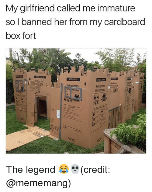 Memes, Girlfriend, and 🤖: My girlfriend called me immature  so I banned her from my cardboard  box fort  SDE/COTE  erator  Refigerator  rateur The legend 😂💀(credit: @mememang)