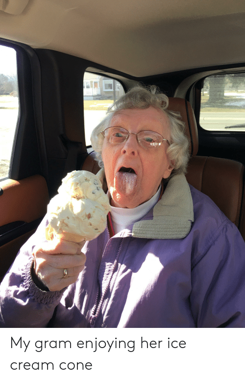Ice Cream, Her, and Cream: My gram enjoying her ice cream cone