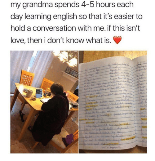 Grandma, Love, and What Is: my grandma spends 4-5 hours each  day learning english so that it's easier to  hold a conversation with me. if this isn't  love, then i don't know what is.