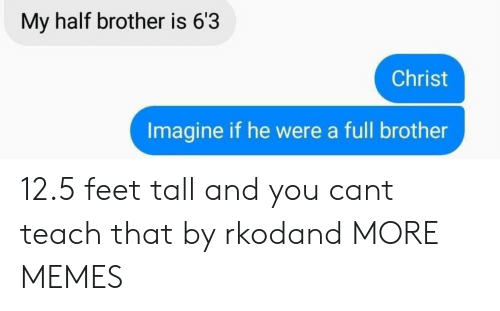 Dank, Memes, and Target: My half brother is 63  Christ  Imagine if he were a full brother 12.5 feet tall and you cant teach that by rkodand MORE MEMES