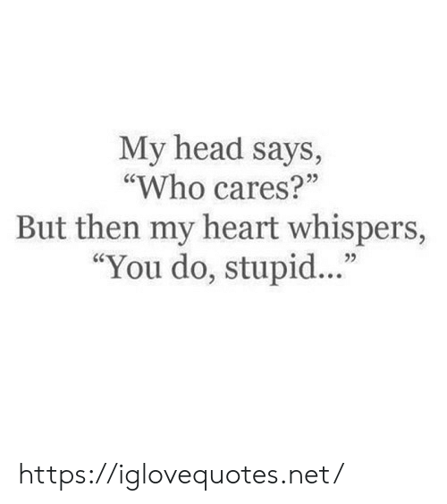 "Head, Heart, and Net: My head says,  ""Who cares?""  25  But then my heart whispers,  ""You do, stupid..."" https://iglovequotes.net/"