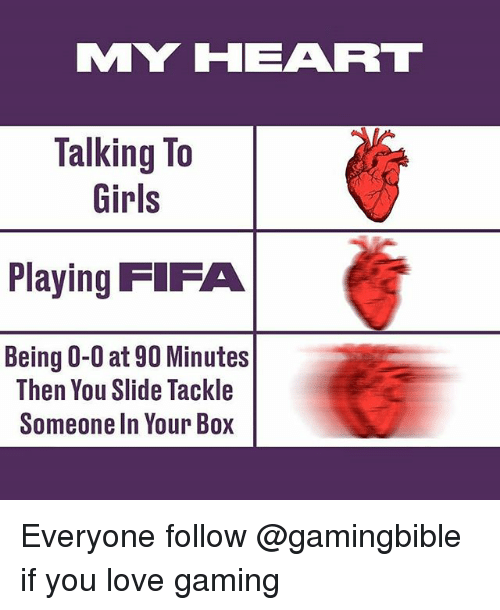Fifa, Girls, and Love: MY HEAR  Talking To  Girls  Playing FIFA  Being 0-0 at 90 Minutes  Then You Slide Tackle  Someone In Your Box Everyone follow @gamingbible if you love gaming