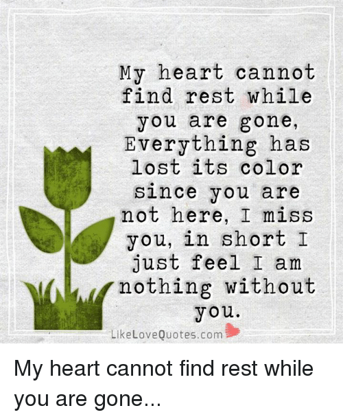 My Heart Cannot Find Rest While You Are Gone Everything Has Lost Its