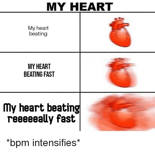 Reddit, Heart, and Intensifies: MY HEART  My heart  beating  MY HEART  BEATING FAST  My heart beating  reeeeealy fast