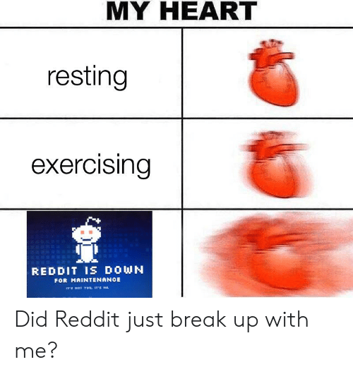 MY HEART Resting Exercising REDDIT IS DOWN FOR MAINTENANCE IT'S NOT