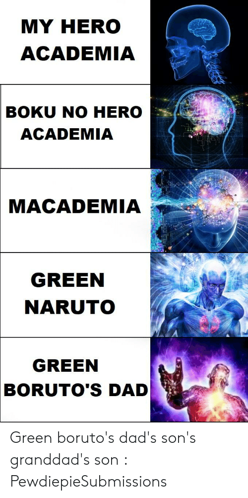 Dad, Naruto, and My Hero: MY HERO  ACADEMIA  BOKU NO HERO  ACADEMIA  MACADEMIA  GREEN  NARUTO  GREEN  BORUTO'S DAD Green boruto's dad's son's granddad's son : PewdiepieSubmissions
