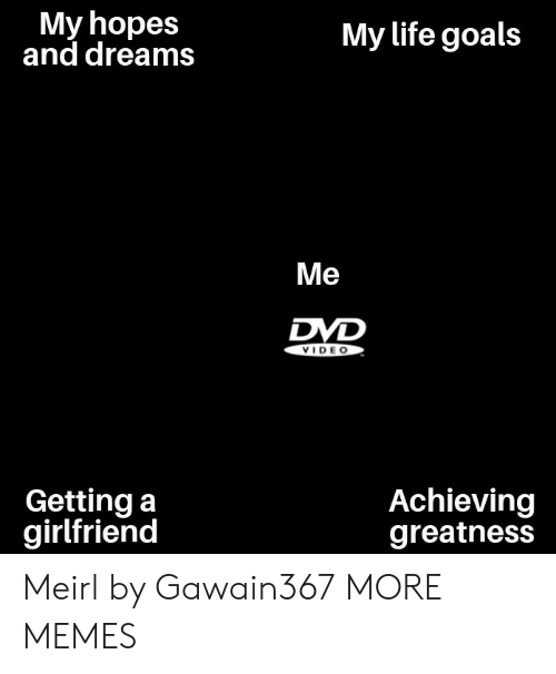 Dank, Goals, and Life: My hopes  and dreams  My life goals  Me  DVD  VIDE O  Getting a  girlfriend  Achieving  greatness Meirl by Gawain367 MORE MEMES