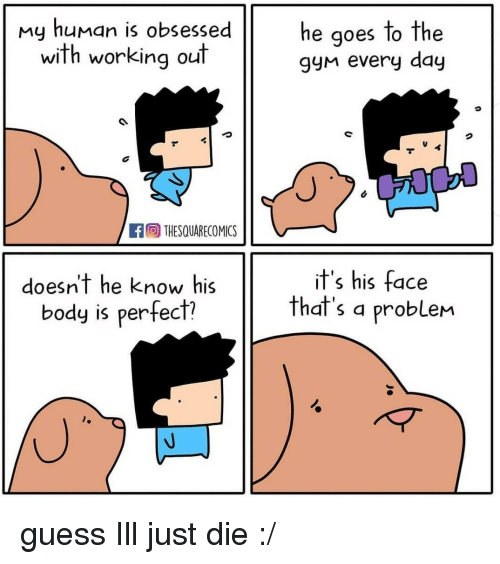 Working Out, Guess, and Human: my human is obsessed  with working out  he goes to the  gyn every day  fTHESQUARECOMICS  doesnt he know his  body is perfecf?  if's his face  that's a problem guess Ill just die :/