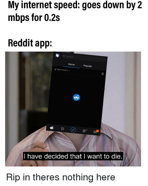 My Internet Speed Goes Down by 2 Mbps for 02s Reddit App a ...