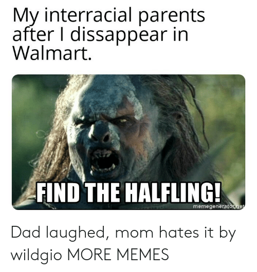 Dad, Dank, and Memes: My interracial parents  after I dissappear in  Walmart  FIND THE HALFLING  memegeneratonge Dad laughed, mom hates it by wildgio MORE MEMES