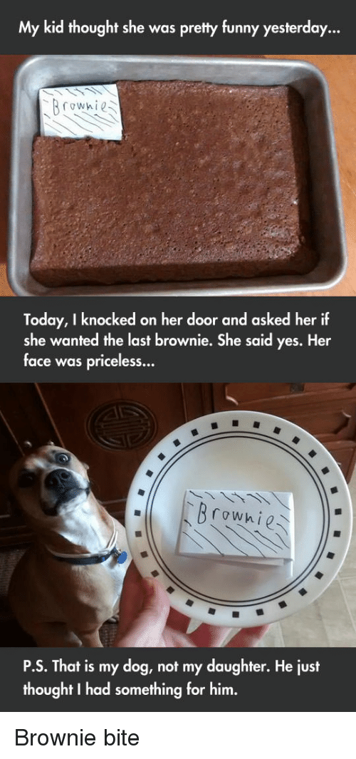 Funny, Today, and Thought: My kid thought she was pretty funny yesterday...  Today, I knocked on her door and asked her if  she wanted the last brownie. She said yes. Her  face was priceless..  Р.S. That is my dog, not my daughter. He lust  thought I had something for him. Brownie bite