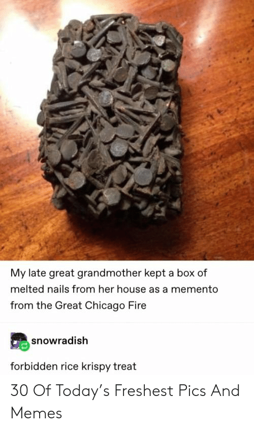 Chicago, Fire, and Memes: My late great grandmother kept a box of  melted nails from her house as a memento  from the Great Chicago Fire  snowradish  forbidden rice krispy treat 30 Of Today's Freshest Pics And Memes
