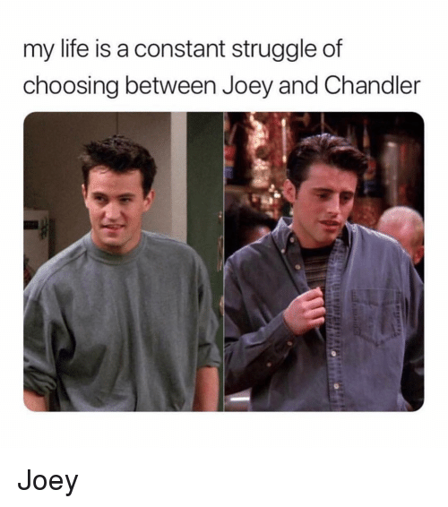 Life, Struggle, and Girl Memes: my life is a constant struggle of  choosing between Joey and Chandler Joey