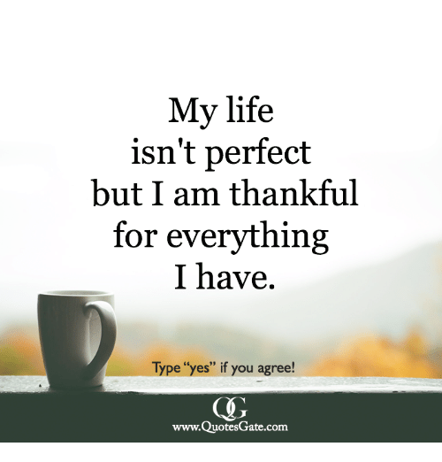 my life isn t perfect but i am thankful for everything i have type
