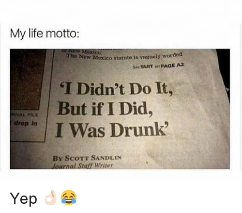 Drunk, Life, and Memes: My life motto:  GX  The Now  he New Mexico statute is vaguely worded  Sie SUIT on PAGE A  T Didn't Do It,  But if I Did,  I Was Drunk  RNAL FILE  drop In  By ScoTT SANDLIN  lournal Staff Writer Yep 👌🏻😂