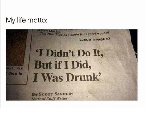 "Dank, Drunk, and Life: My life motto:  New Mexico.  New Mexico  statute is vaguely worded  The see sum on  PAGE A2  ""I Didn't Do It,  But if I Did  RNAL FILE  drop in  I Was Drunk""  BY SCOTT SANDLIN  lournal Staff Writer"