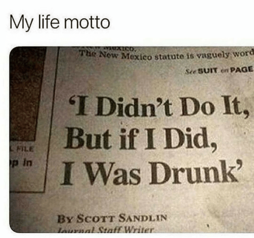 Drunk, Life, and Mexico: My life motto  Now Mexico statute is vaguely word  See SUIT on PAGE  THe  T Didn't Do It,  면 | But if I Did.  FILE  p in  I Was Drunk  By ScoTT SANDLIN  Writ
