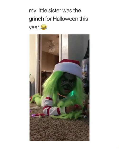 The Grinch, Halloween, and Memes: my little sister was the  grinch for Halloween this  year
