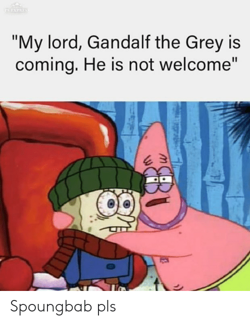 "Gandalf, The Lord of the Rings, and Grey: ""My lord, Gandalf the Grey is  comina, He is not welcome"" Spoungbab pls"
