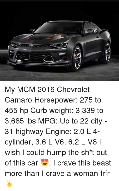My Mcm 2016 Chevrolet Camaro Horsepower 275 To 455 Hp Curb Weight
