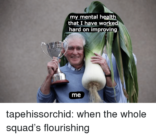 Squad, Tumblr, and Blog: my mental health  that I have worked  hard on improving  me tapehissorchid:  when the whole squad's flourishing