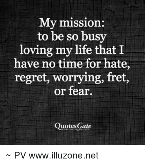 My Mission To Be So Busy Loving My Life That I Have No Time For Hate