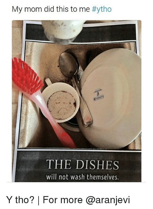 Memes, Dish, and 🤖: My mom did this to me #ytho  THE DISHES  will not wash themselves. Y tho? | For more @aranjevi