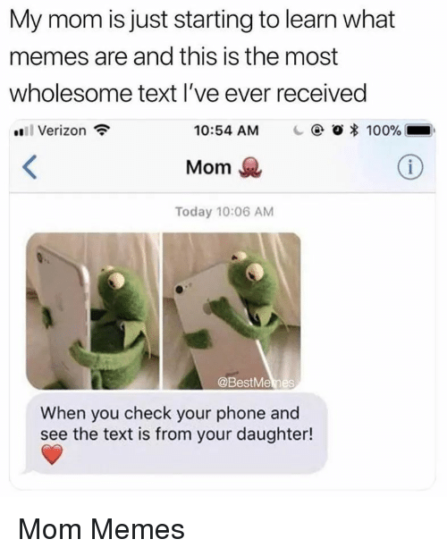 Anaconda, Memes, and Phone: My mom is just starting to learn what  memes are and this is the most  wholesome text l've ever received  Verizon  10:54 AM    @ Ο 100%  Mom  Today 10:06 AM  @BestMemes  When you check your phone and  see the text is from your daughter! Mom Memes