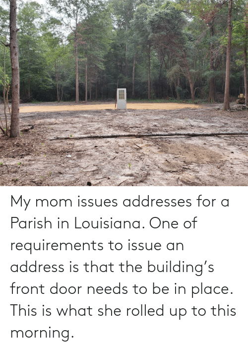 Louisiana, Mom, and One: My mom issues addresses for a Parish in Louisiana. One of requirements to issue an address is that the building's front door needs to be in place. This is what she rolled up to this morning.