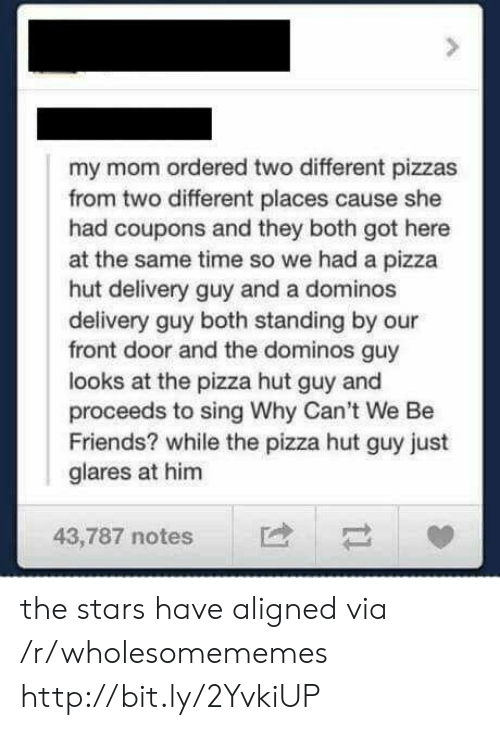 Friends, Pizza, and Pizza Hut: my mom ordered two different pizzas  from two different places cause she  had coupons and they both got here  at the same time so we had a pizza  hut delivery guy and a dominos  delivery guy both standing by our  front door and the dominos guy  looks at the pizza hut guy and  proceeds to sing Why Can't We Be  Friends? while the pizza hut guy just  glares at him  43,787 notes the stars have aligned via /r/wholesomememes http://bit.ly/2YvkiUP