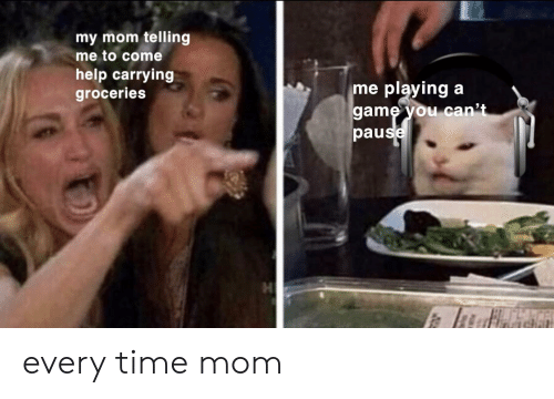 Game, Help, and Time: my mom telling  me to come  help carrying  groceries  playing  game you can't  pause  me every time mom